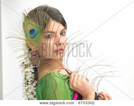 Woman  with peacock feather