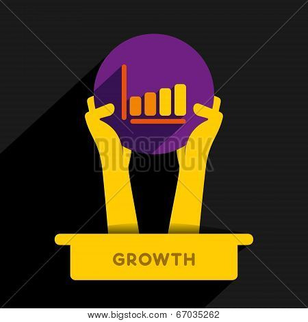 business growth graph or growth plan graph symbol hold in hand concept vector