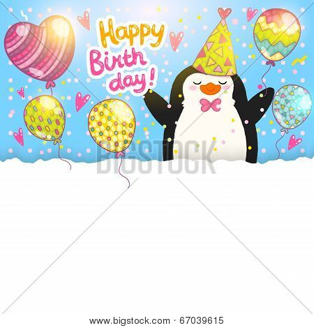 Happy Birthday card background with cute penguin. Vector holiday party template poster