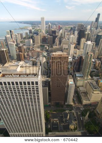 Chicago Arial View Of The Sears Tower