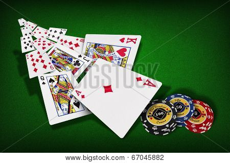 Poker chips Playing cards