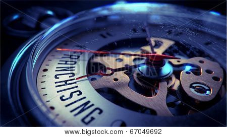 Franchising on Pocket Watch Face. Time Concept.