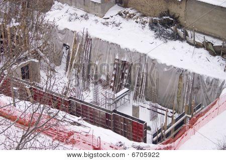 Winter Building Under Construction