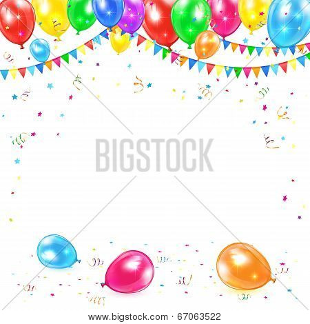 Holiday background with colored balloons, pennants, tinsel and confetti, illustration. poster
