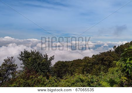 Clouds Over Mountain. Volcano Mount Merapi.