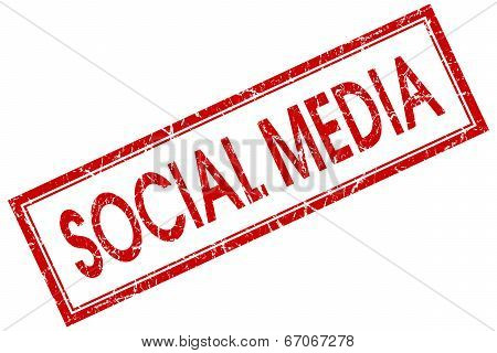 Social media red square grungy stamp isolated on white background poster