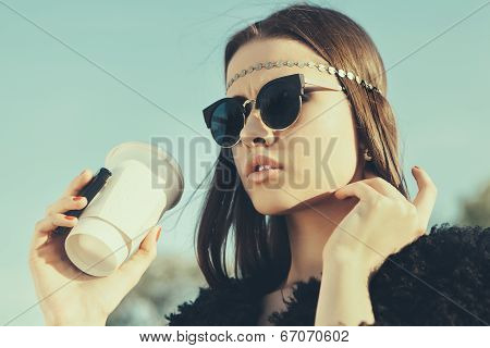 Beautiful Hipster Woman With Cup Of Coffee