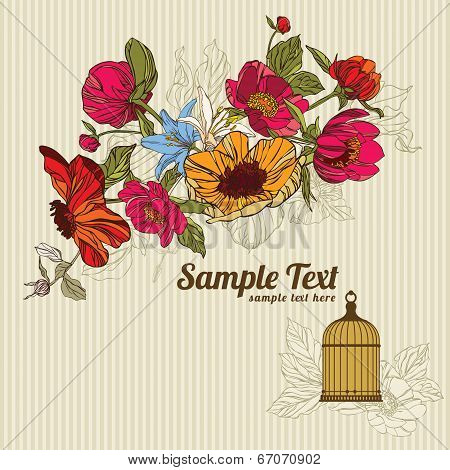 invitation card  with flowers and birdcage