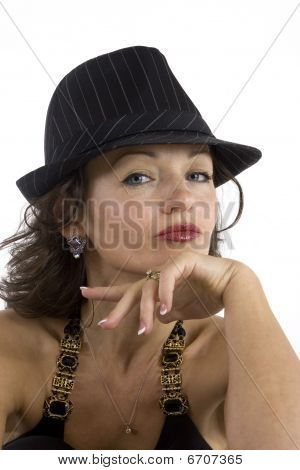 Glamorous Woman In Black Hat