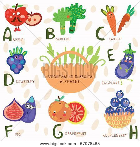 Very Cute Alphabet  Of Fruit And Vegetables.a, B, C, D, E, F ,g,h Letters.