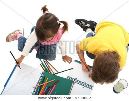 Childrens Students With Crayons