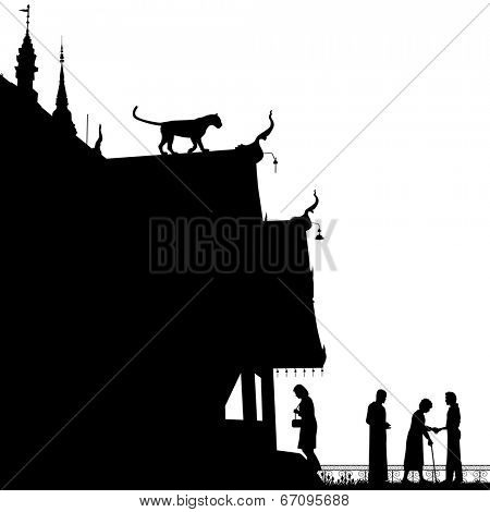 Editable vector silhouette of a leopard on a temple roof with figures as separate objects