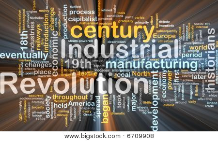 Industrial Revolution Word Cloud Glowing