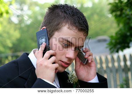 Prom Boy On Two Phones