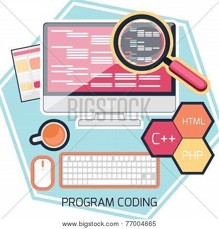 Flat design concept of program coding