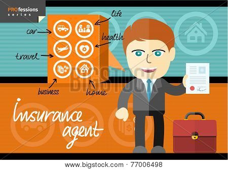 Male insurance agent presenting contract