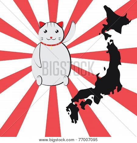 A White Japanese Lucky Cat (maneki Neko)