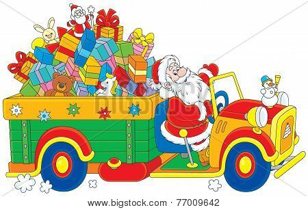 Santa with Truck Full of Christmas gifts