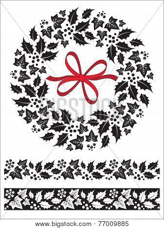 Christmas Wreath Holly Ivy & Border