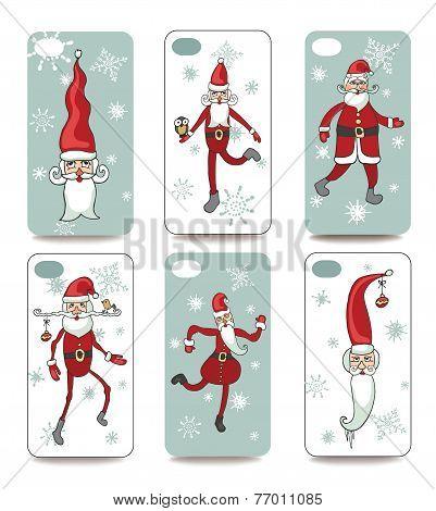 Funny Santa.Mobile phone cover  back set
