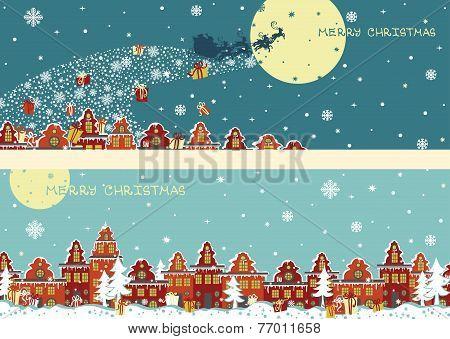 Christmas horizontal banner set.Santa Claus coming to City