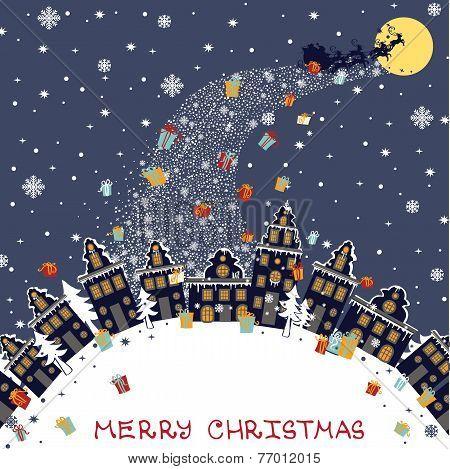 Christmas greeting card.Santa Claus coming to City