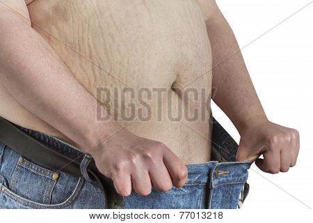 overweight shirtless Man stretching his blue jeans isolated on white background poster