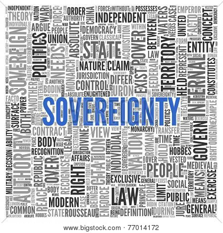 Close up Blue SOVEREIGNTY Text at the Center of Word Tag Cloud on White Background.