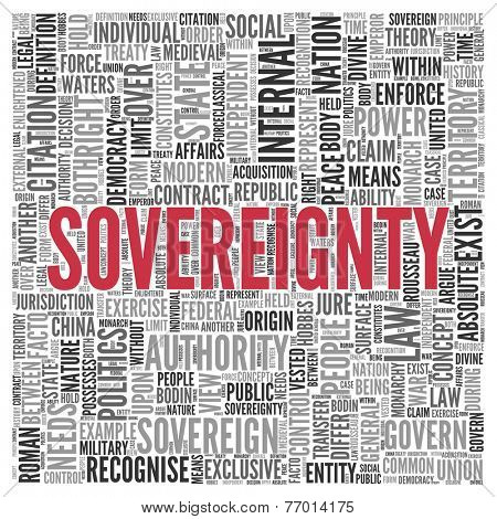 Close up Red SOVEREIGNTY Text at the Center of Word Tag Cloud on White Background.