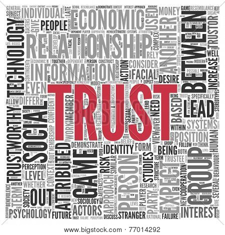 Close up Red Trust Text at the Center of Word Tag Cloud on White Background.