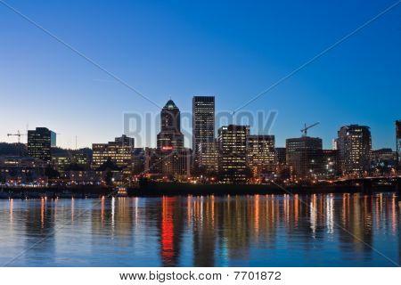 City skyline at sunset.