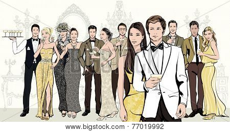 Group of people celebrating an event (wedding) or having a cocktail in formal dress - Vector illustration