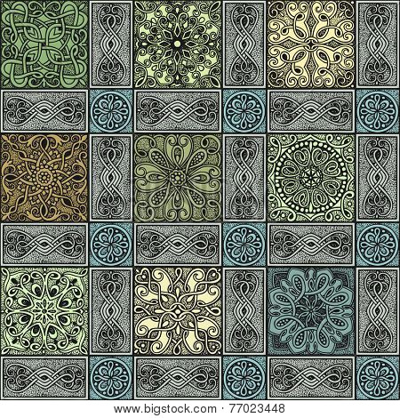 Seamless pattern colorful mosaic in vintage style, hand-drawn illustration.