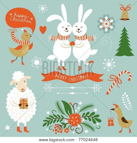 Christmas Clip Art. Letering, graphic characters, symbols