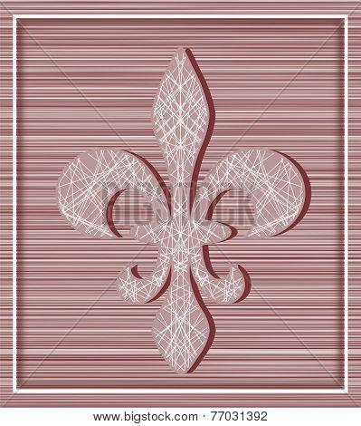 Fleur De Lis On Stripey Background With Minimalistic Frame