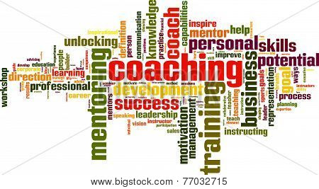 Coaching Word Cloud Concept, Isolated on White poster