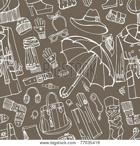 Females outerwear,accessories seamless pattern.Outline Sketchy
