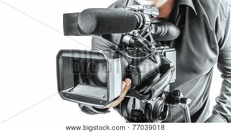 Video operator isolated on a white background poster
