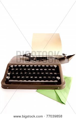 Typewriter And letter In Green