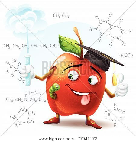 Illustration of school scholar apple with harmful substance in a test tube in his hand