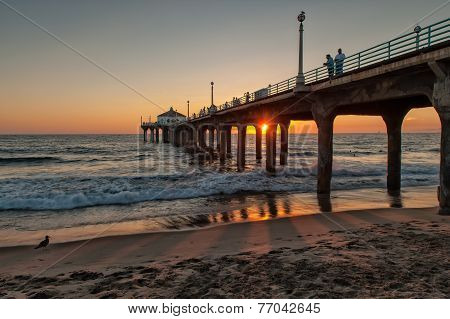 Manhattan beach in Los Angeles at sunset