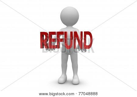 Man Holding Refund Sign