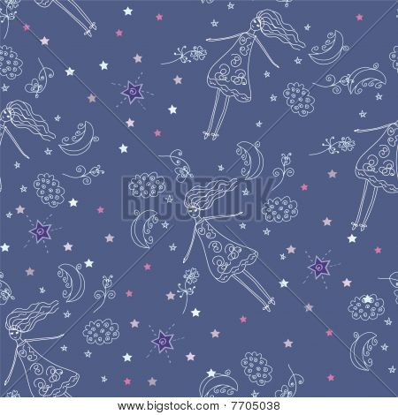 Fairytail night seamless pattern
