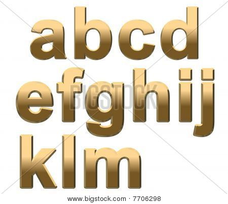 Gold Alphabet Letters Lowercase A - M On White