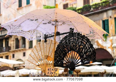 Lace Fan And Parasol On The Market In Verona, Italy