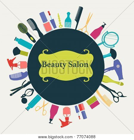 poster of Vector pttern of Hair salon Flat Barber Shop background