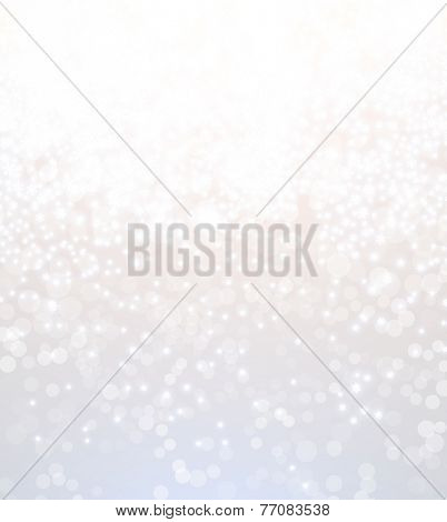Light Silver Abstract Christmas Background with White Blurred Snowflakes