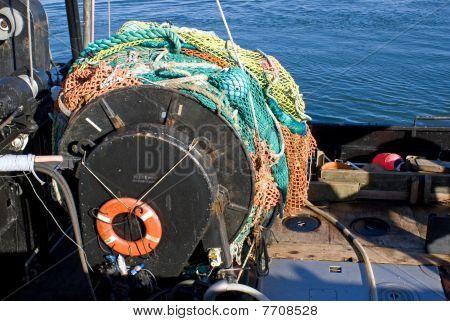 Drag Netters net on fishing boat.