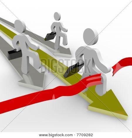Business People Race Across Finish Line