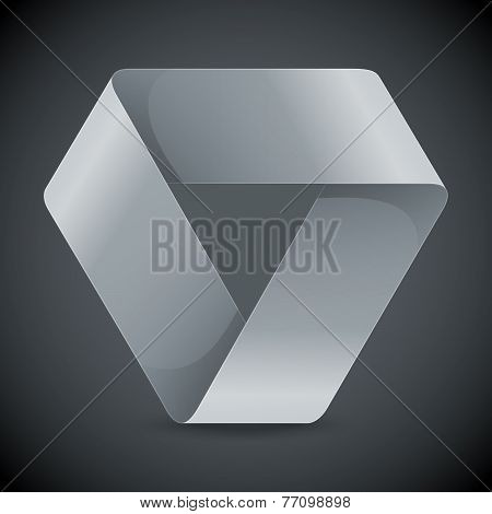 Moebius origami white paper triangle on grey background